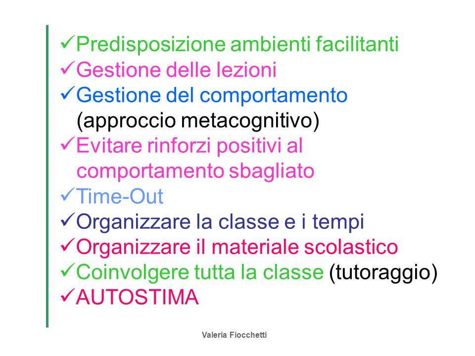 Valeria Fiocchetti Predisposizione ambienti facilitanti Gestione delle lezioni Gestione del comportamento (approccio metacognitivo) Evitare rinforzi p