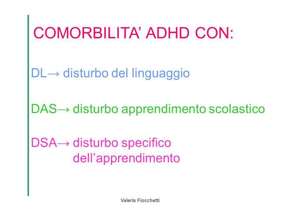 Valeria Fiocchetti COMORBILITA' ADHD CON: DL→ disturbo del linguaggio DAS→ disturbo apprendimento scolastico DSA→ disturbo specifico dell'apprendiment