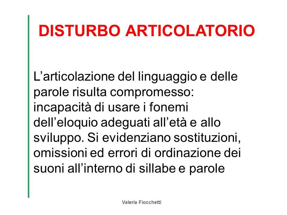 Valeria Fiocchetti DISTURBO ARTICOLATORIO L'articolazione del linguaggio e delle parole risulta compromesso: incapacità di usare i fonemi dell'eloquio