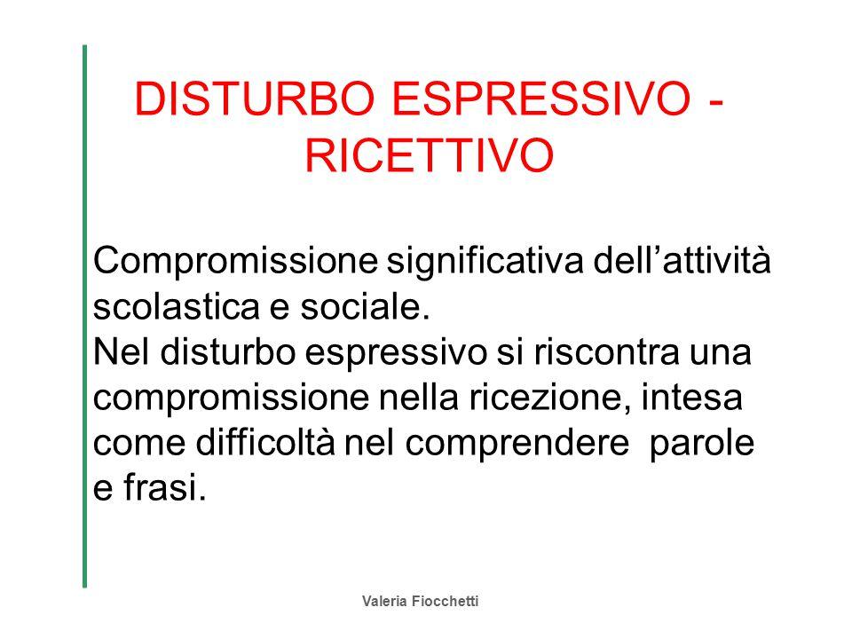 Valeria Fiocchetti DISTURBO ESPRESSIVO - RICETTIVO Compromissione significativa dell'attività scolastica e sociale. Nel disturbo espressivo si riscont