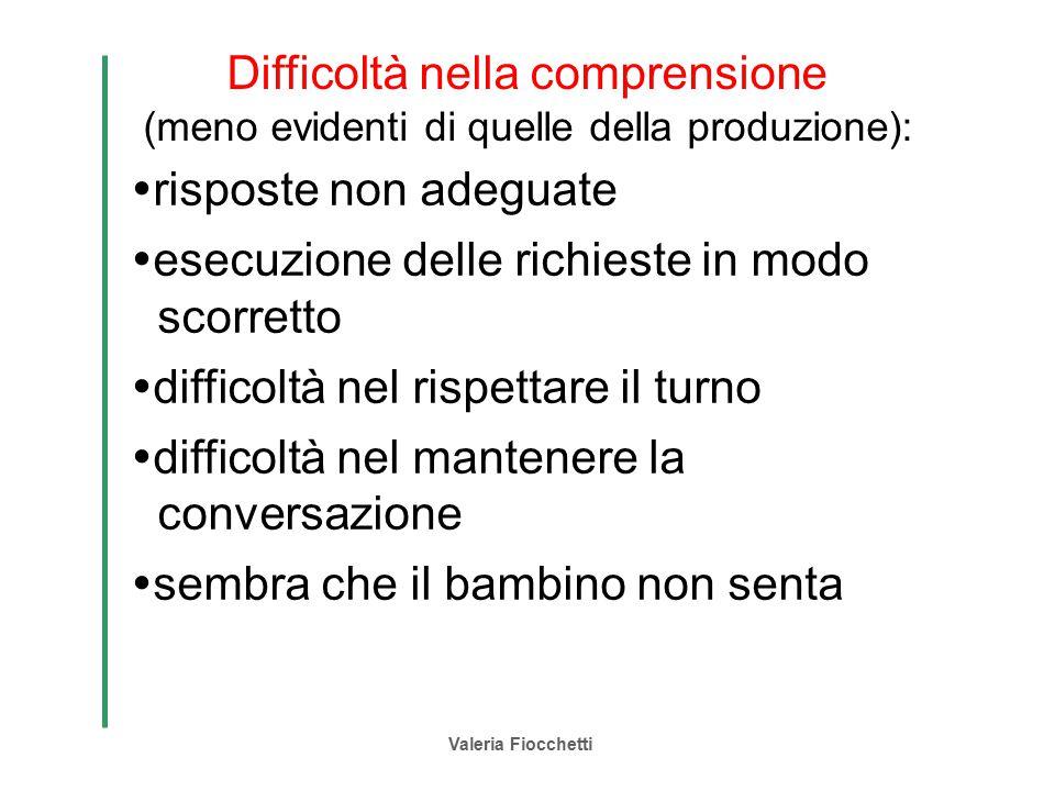 Valeria Fiocchetti Difficoltà nella comprensione (meno evidenti di quelle della produzione):  risposte non adeguate  esecuzione delle richieste in m
