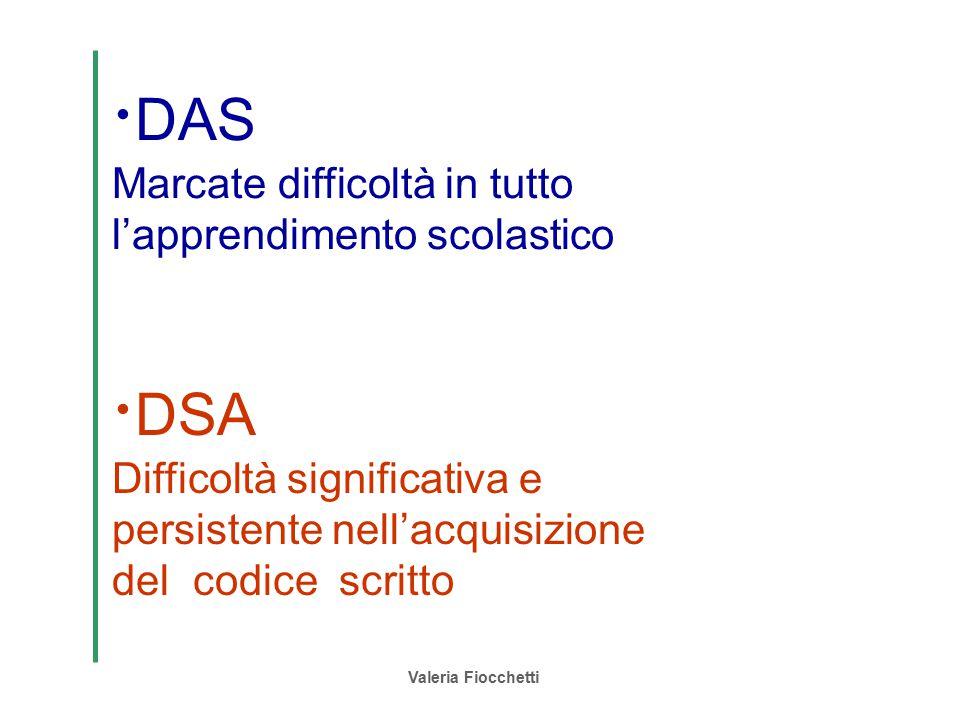 Valeria Fiocchetti  DAS Marcate difficoltà in tutto l'apprendimento scolastico  DSA Difficoltà significativa e persistente nell'acquisizione del cod