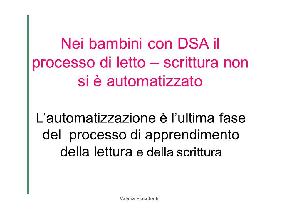 Valeria Fiocchetti Nei bambini con DSA il processo di letto – scrittura non si è automatizzato L'automatizzazione è l'ultima fase del processo di appr