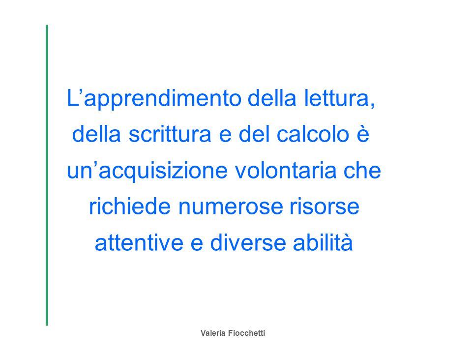 Valeria Fiocchetti L'apprendimento della lettura, della scrittura e del calcolo è un'acquisizione volontaria che richiede numerose risorse attentive e