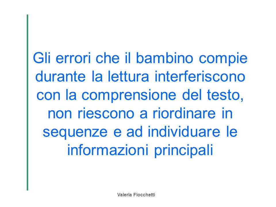 Valeria Fiocchetti Gli errori che il bambino compie durante la lettura interferiscono con la comprensione del testo, non riescono a riordinare in sequ