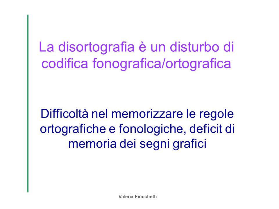 Valeria Fiocchetti La disortografia è un disturbo di codifica fonografica/ortografica Difficoltà nel memorizzare le regole ortografiche e fonologiche,