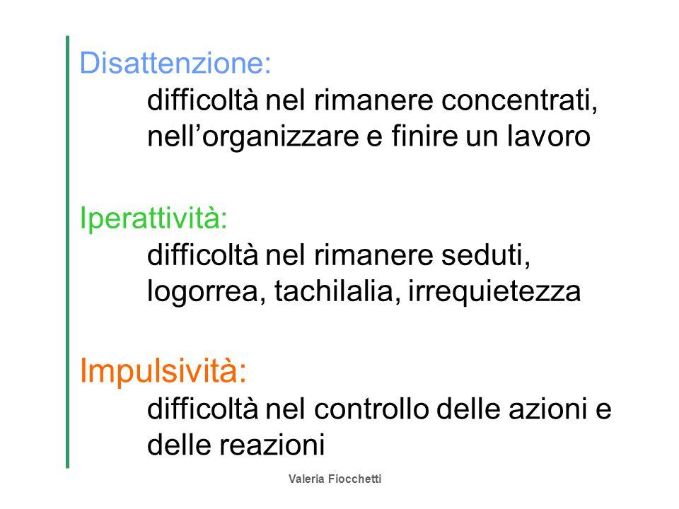 Valeria Fiocchetti Impulsività: difficoltà nel controllo delle azioni e delle reazioni Disattenzione: difficoltà nel rimanere concentrati, nell'organi