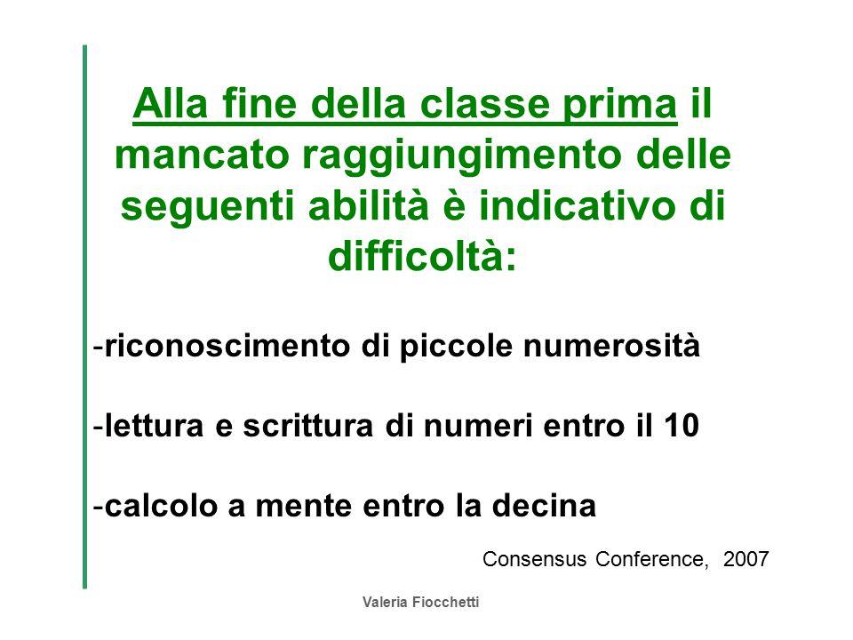 Valeria Fiocchetti Alla fine della classe prima il mancato raggiungimento delle seguenti abilità è indicativo di difficoltà: -riconoscimento di piccol