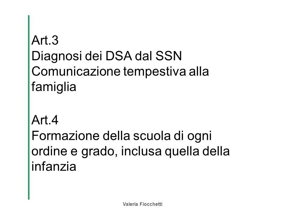Valeria Fiocchetti Art.3 Diagnosi dei DSA dal SSN Comunicazione tempestiva alla famiglia Art.4 Formazione della scuola di ogni ordine e grado, inclusa