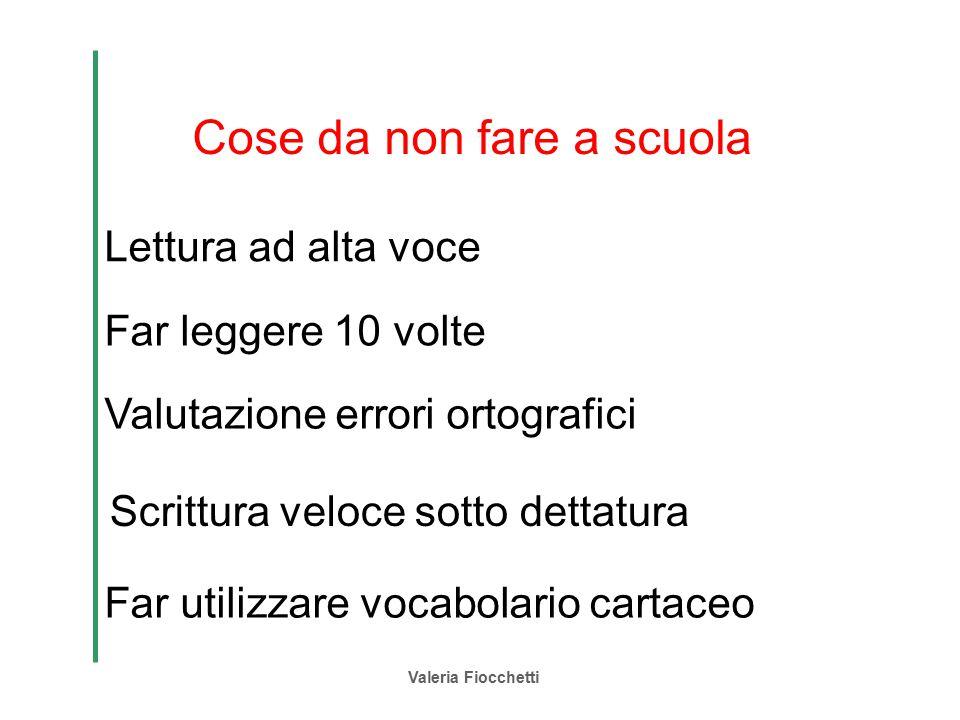 Valeria Fiocchetti Cose da non fare a scuola Lettura ad alta voce Far leggere 10 volte Valutazione errori ortografici Far utilizzare vocabolario carta
