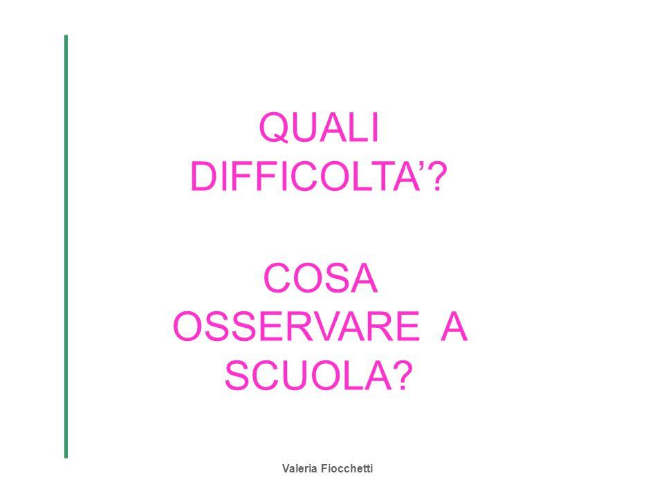Valeria Fiocchetti QUALI DIFFICOLTA'? COSA OSSERVARE A SCUOLA?