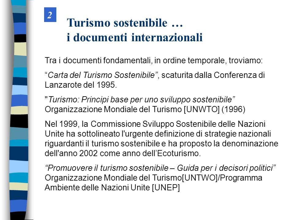 Tra i documenti fondamentali, in ordine temporale, troviamo: Carta del Turismo Sostenibile , scaturita dalla Conferenza di Lanzarote del 1995.