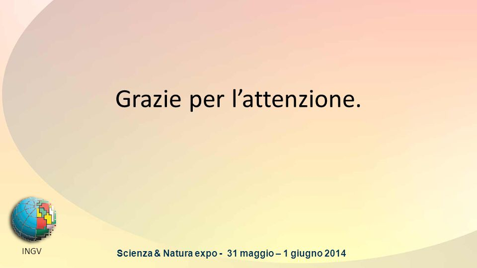 Grazie per l'attenzione. INGV Scienza & Natura expo - 31 maggio – 1 giugno 2014