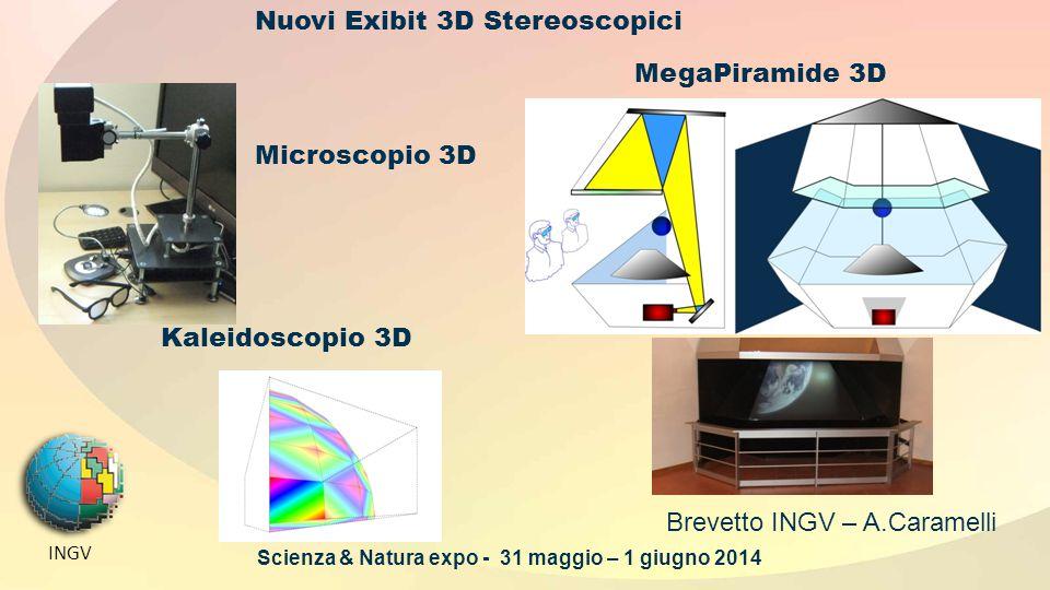 INGV Nuovi Exibit 3D Stereoscopici MegaPiramide 3D Brevetto INGV – A.Caramelli Kaleidoscopio 3D Microscopio 3D Scienza & Natura expo - 31 maggio – 1 giugno 2014