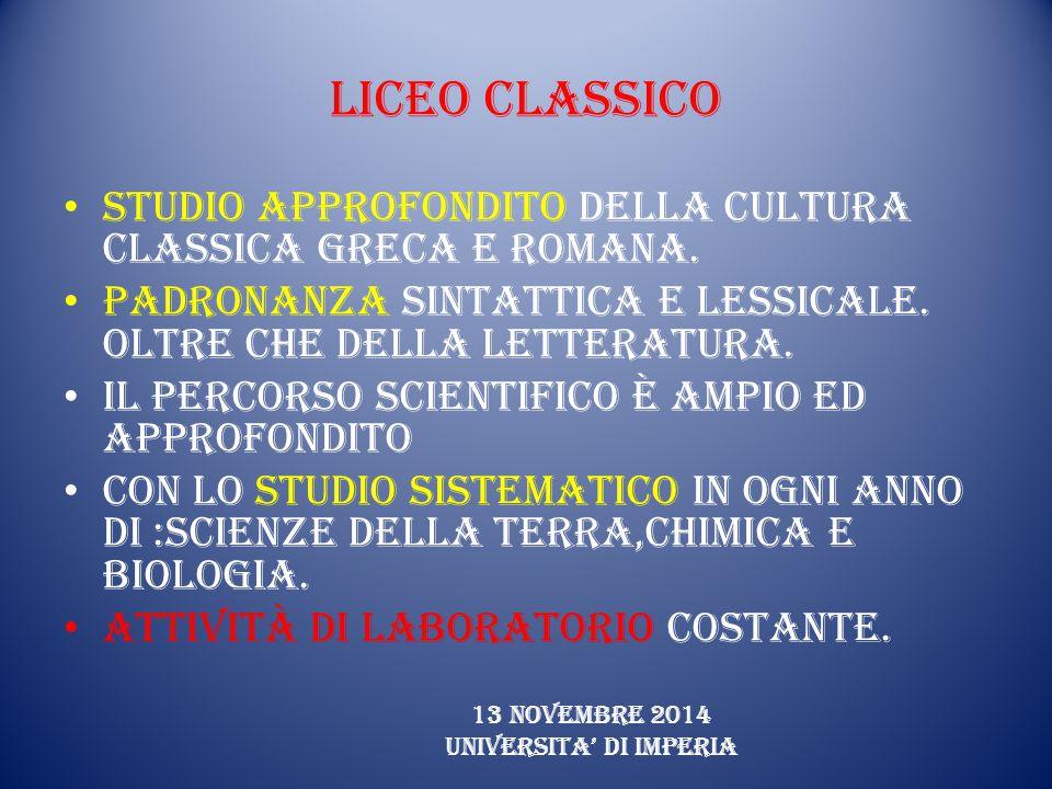Liceo Classico Studio approfondito della cultura classica Greca e Romana.