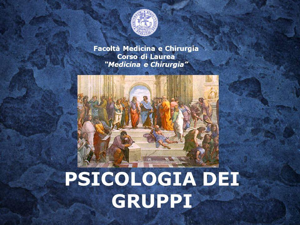 """Facoltà Medicina e Chirurgia Corso di Laurea """"Medicina e Chirurgia"""" PSICOLOGIA DEI GRUPPI"""