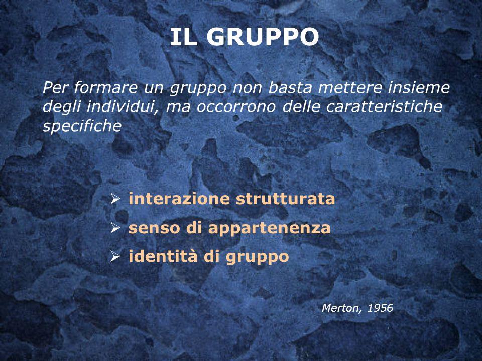Per formare un gruppo non basta mettere insieme degli individui, ma occorrono delle caratteristiche specifiche  interazione strutturata  senso di ap