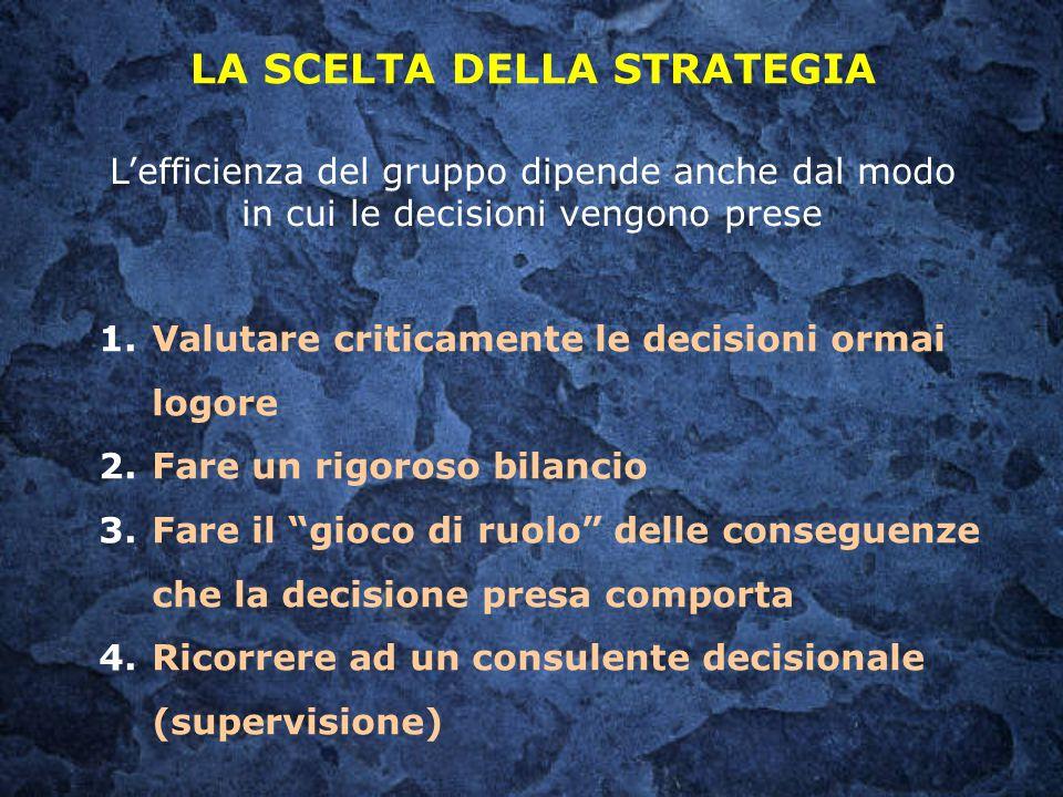 L'efficienza del gruppo dipende anche dal modo in cui le decisioni vengono prese LA SCELTA DELLA STRATEGIA 1.Valutare criticamente le decisioni ormai