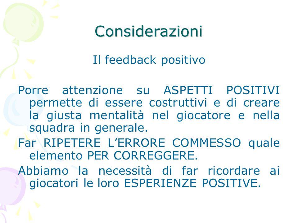 Considerazioni Il feedback positivo Porre attenzione su ASPETTI POSITIVI permette di essere costruttivi e di creare la giusta mentalità nel giocatore