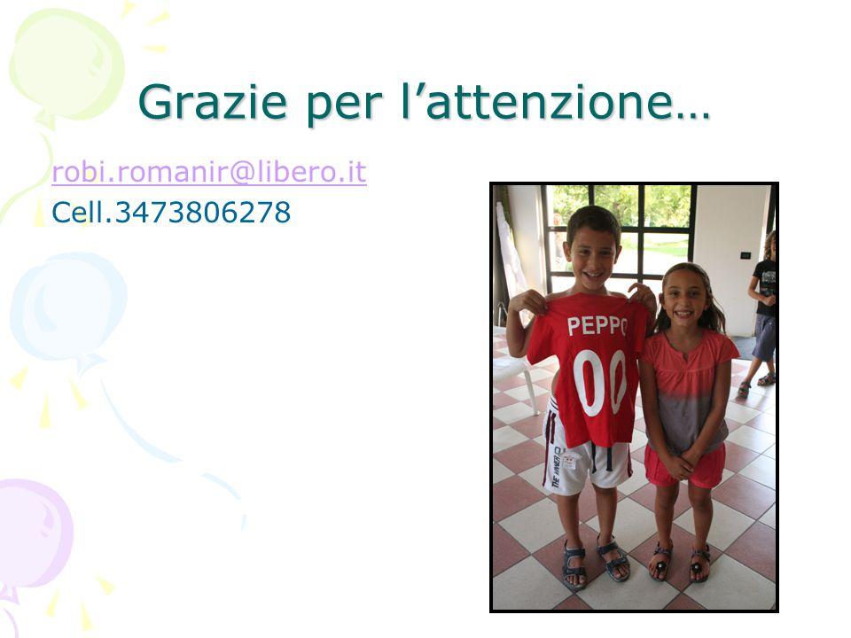 Grazie per l'attenzione… robi.romanir@libero.it Cell.3473806278