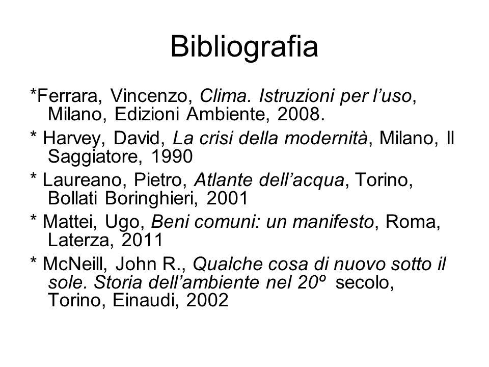 Bibliografia *Ferrara, Vincenzo, Clima.Istruzioni per l'uso, Milano, Edizioni Ambiente, 2008.
