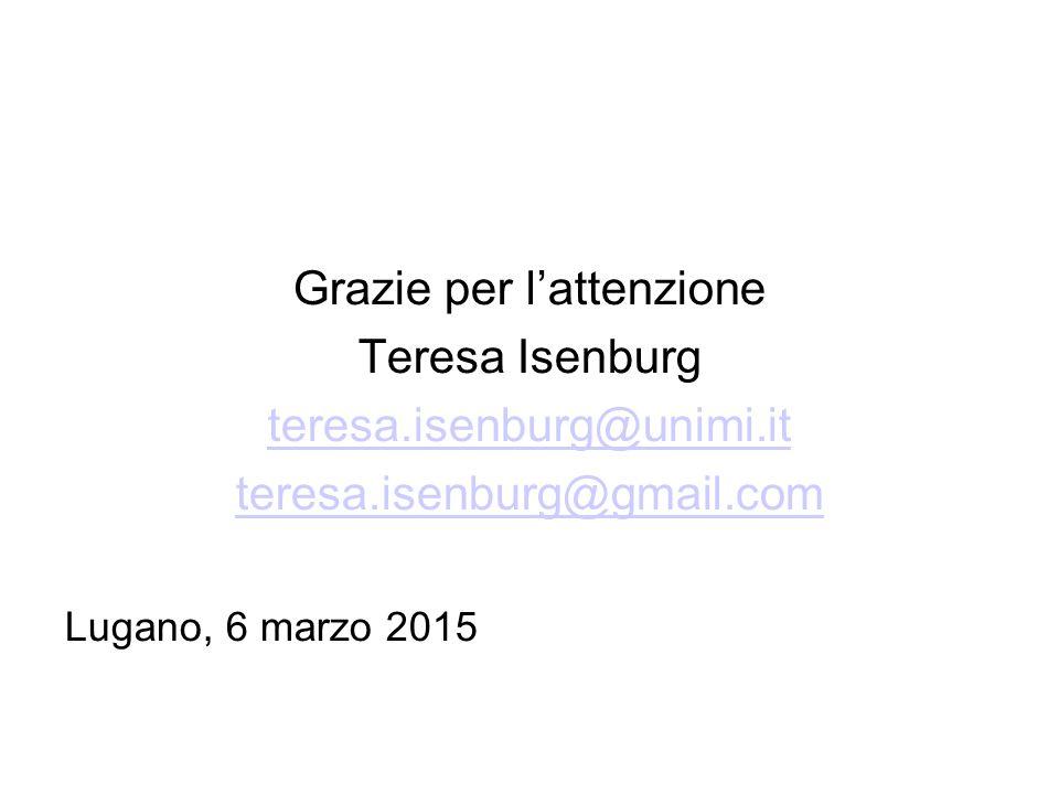 Grazie per l'attenzione Teresa Isenburg teresa.isenburg@unimi.it teresa.isenburg@gmail.com Lugano, 6 marzo 2015