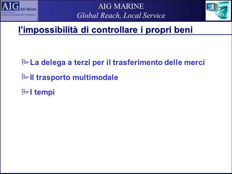 AIG MARINE Global Reach, Local Service l'impossibilità di controllare i propri beni  La delega a terzi per il trasferimento delle merci  Il trasporto multimodale  I tempi