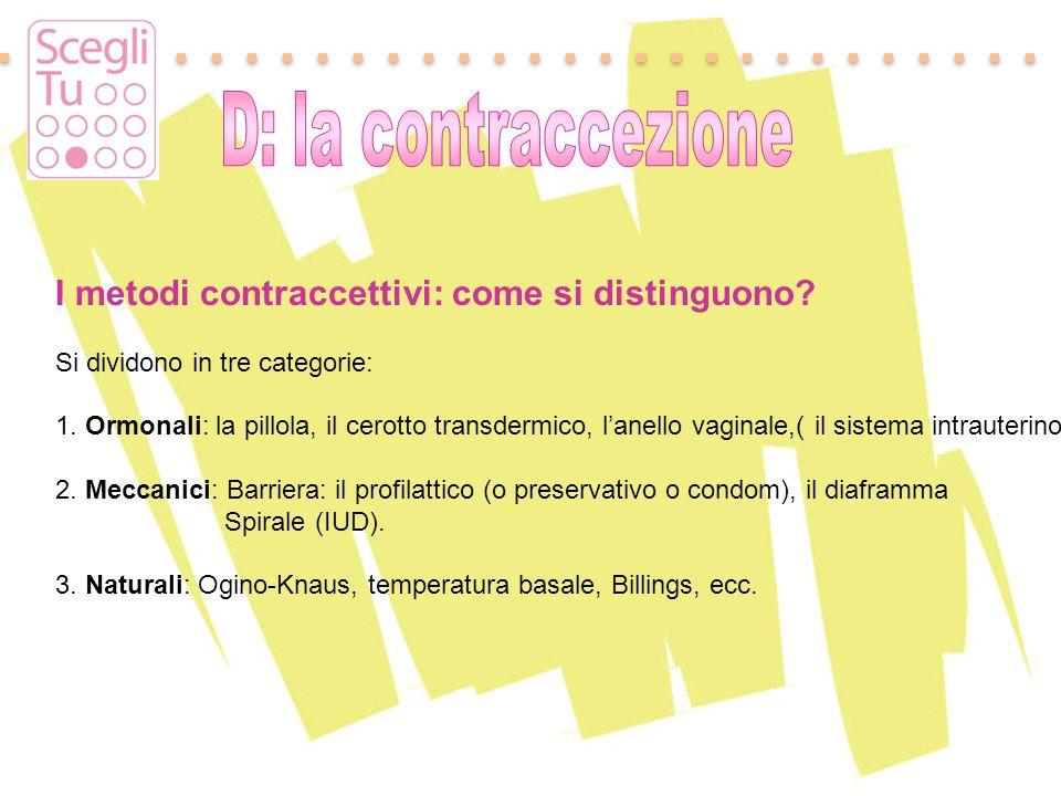 Padova, 17 maggio 2011 I metodi contraccettivi: come si distinguono? Si dividono in tre categorie: 1. Ormonali: la pillola, il cerotto transdermico, l