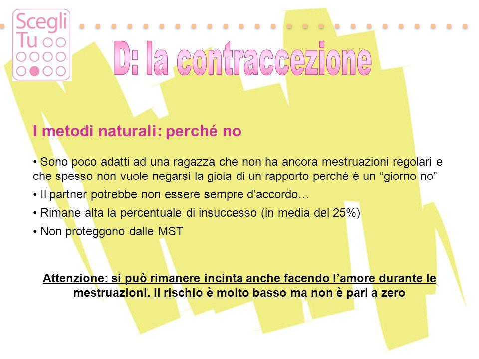 Padova, 17 maggio 2011 I metodi naturali: perché no Sono poco adatti ad una ragazza che non ha ancora mestruazioni regolari e che spesso non vuole neg