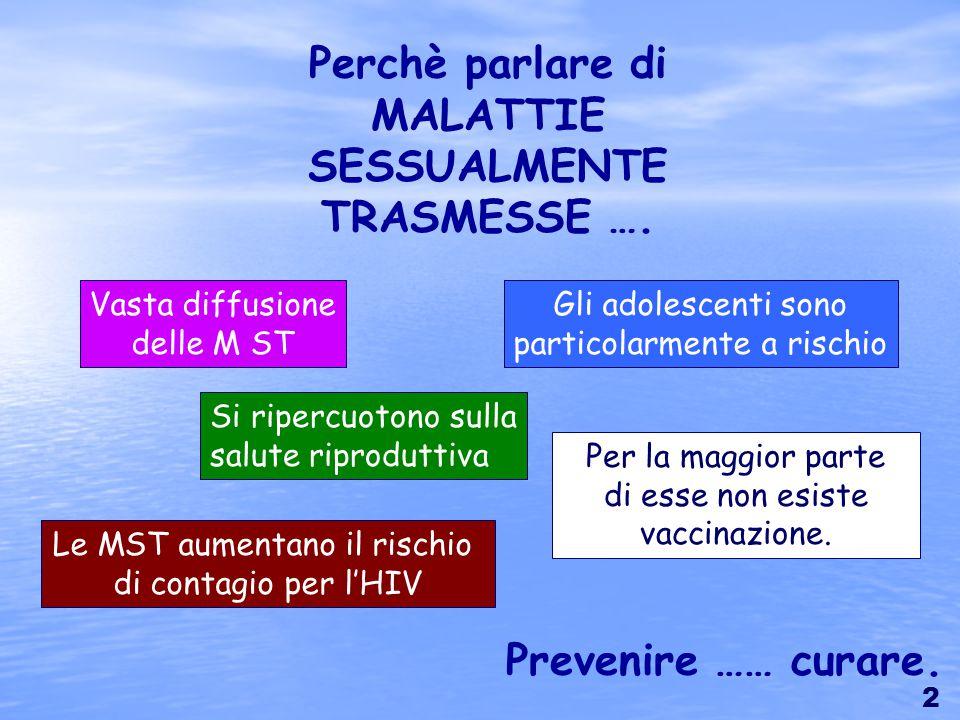 Per la maggior parte di esse non esiste vaccinazione. Perchè parlare di MALATTIE SESSUALMENTE TRASMESSE …. Vasta diffusione delle M ST Si ripercuotono