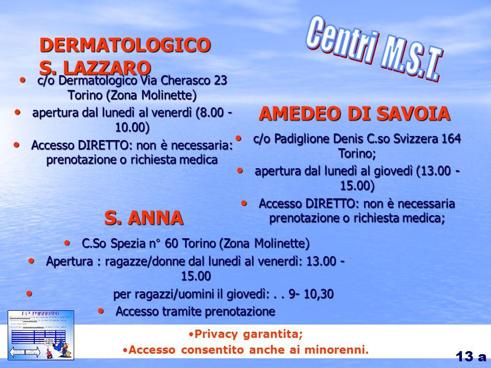 Privacy garantita; Accesso consentito anche ai minorenni. DERMATOLOGICO S. LAZZARO c/o Dermatologico Via Cherasco 23 Torino (Zona Molinette) c/o Derma