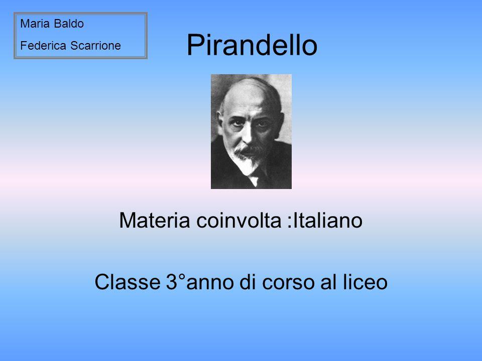 Pirandello Materia coinvolta :Italiano Classe 3°anno di corso al liceo Maria Baldo Federica Scarrione
