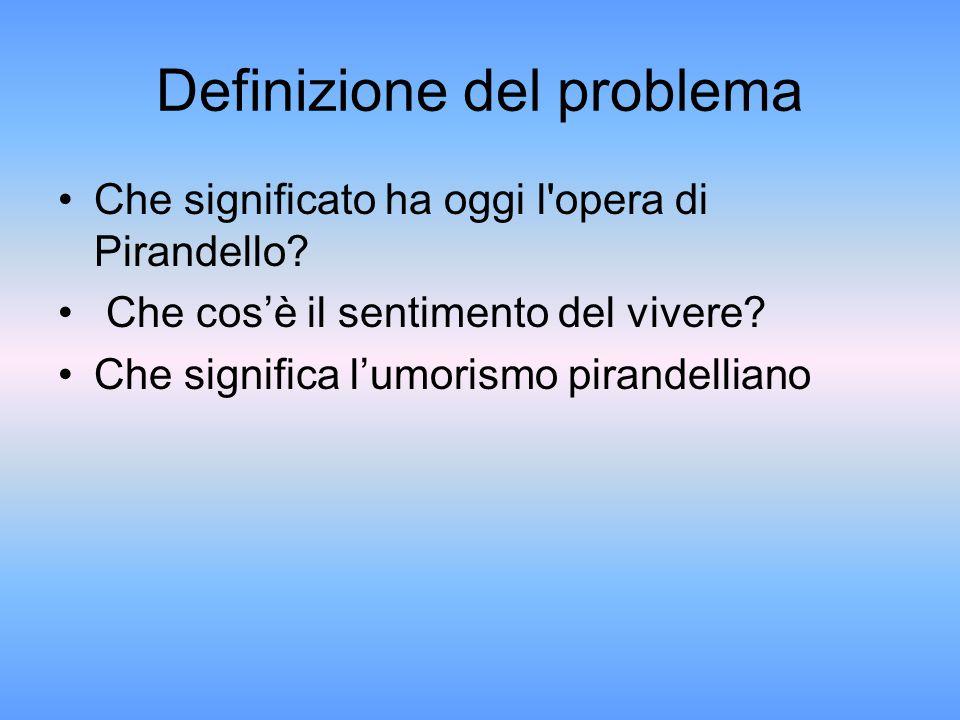 Definizione del problema Che significato ha oggi l'opera di Pirandello? Che cos'è il sentimento del vivere? Che significa l'umorismo pirandelliano