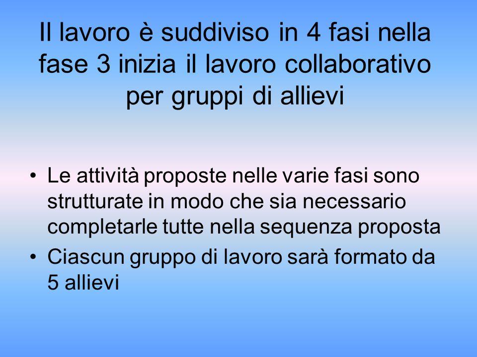 Il lavoro è suddiviso in 4 fasi nella fase 3 inizia il lavoro collaborativo per gruppi di allievi Le attività proposte nelle varie fasi sono struttura