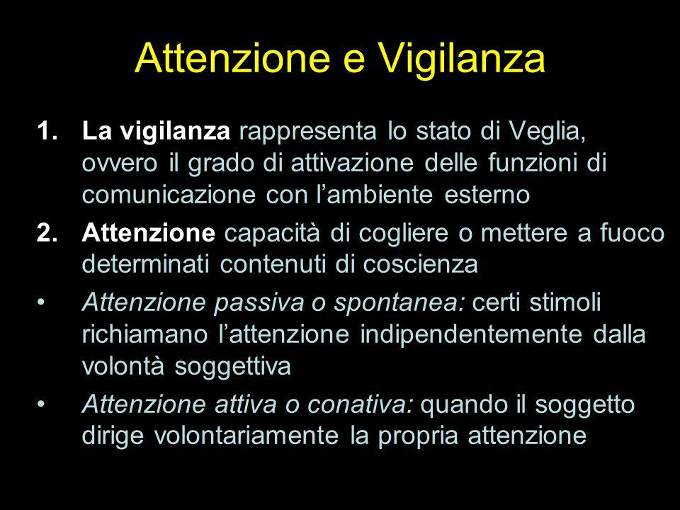 Attenzione e Vigilanza 1.La vigilanza rappresenta lo stato di Veglia, ovvero il grado di attivazione delle funzioni di comunicazione con l'ambiente es