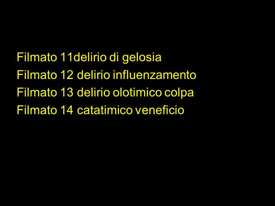 Filmato 11delirio di gelosia Filmato 12 delirio influenzamento Filmato 13 delirio olotimico colpa Filmato 14 catatimico veneficio