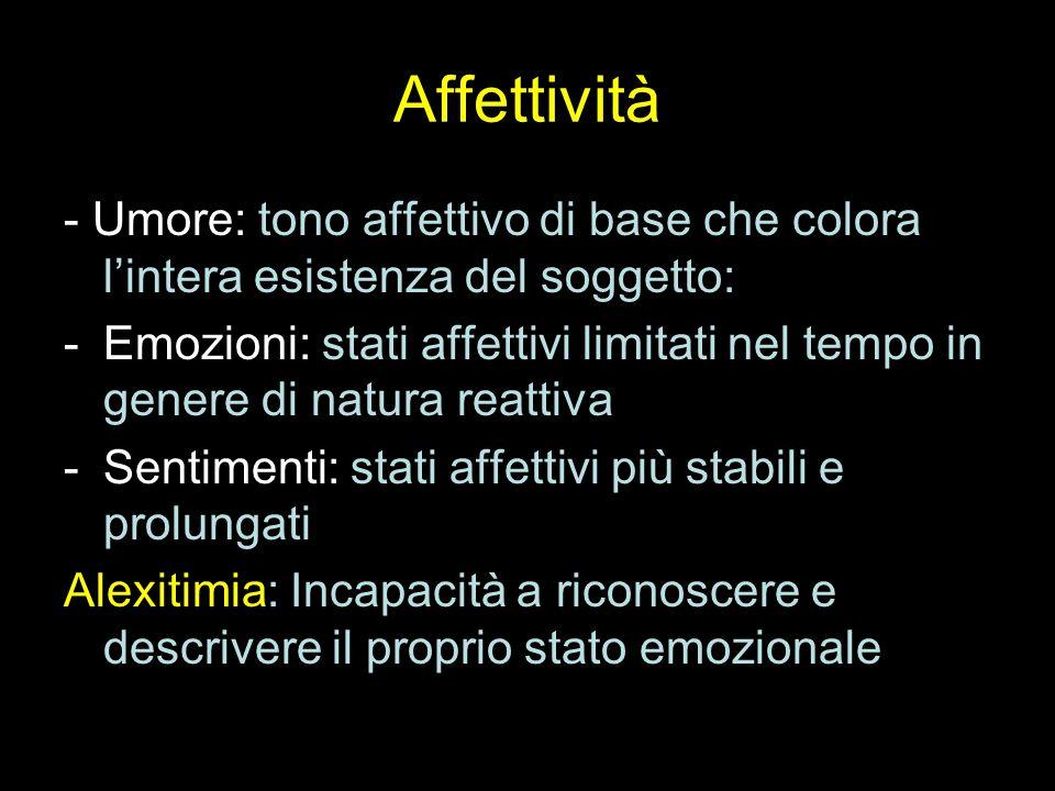 Affettività - Umore: tono affettivo di base che colora l'intera esistenza del soggetto: -Emozioni: stati affettivi limitati nel tempo in genere di nat