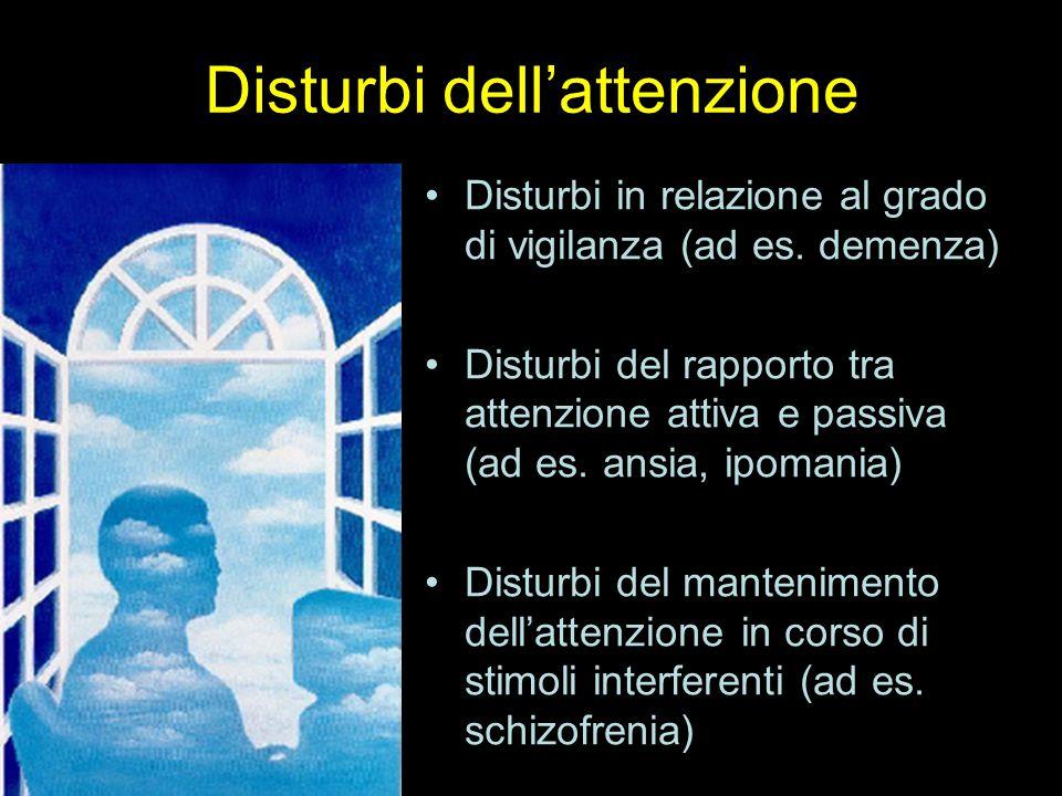 Disturbi dell'attenzione Disturbi in relazione al grado di vigilanza (ad es. demenza) Disturbi del rapporto tra attenzione attiva e passiva (ad es. an