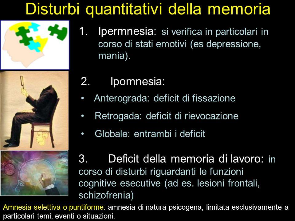 Disturbi quantitativi della memoria 1.Ipermnesia: si verifica in particolari in corso di stati emotivi (es depressione, mania). 2.Ipomnesia: Anterogra