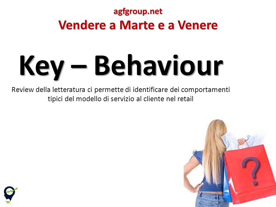 Key – Behaviour Review della letteratura ci permette di identificare dei comportamenti tipici del modello di servizio al cliente nel retail 15agfgroup.net Vendere a Marte e a Venere