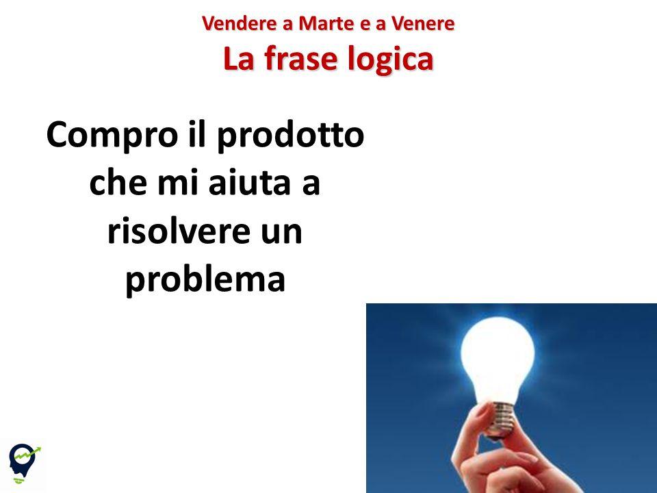 32 Vendere a Marte e a Venere La frase logica Compro il prodotto che mi aiuta a risolvere un problema