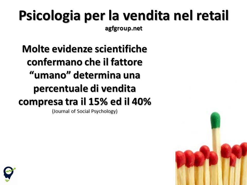 4 Molte evidenze scientifiche confermano che il fattore umano determina una percentuale di vendita compresa tra il 15% ed il 40% (Journal of Social Psychology) Psicologia per la vendita nel retail agfgroup.net