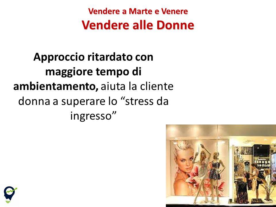Approccio ritardato con maggiore tempo di ambientamento, aiuta la cliente donna a superare lo stress da ingresso Vendere a Marte e Venere Vendere alle Donne