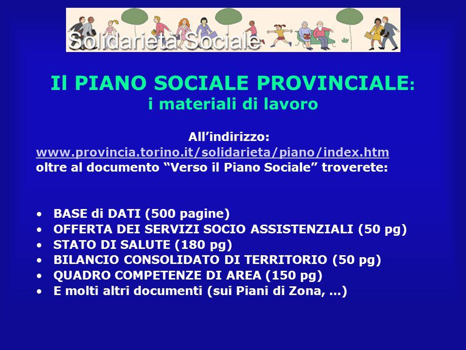 """Il PIANO SOCIALE PROVINCIALE : i materiali di lavoro All'indirizzo: www.provincia.torino.it/solidarieta/piano/index.htm oltre al documento """"Verso il P"""