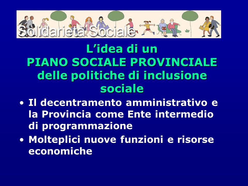 L'idea di un PIANO SOCIALE PROVINCIALE delle politiche di inclusione sociale Il decentramento amministrativo e la Provincia come Ente intermedio di pr