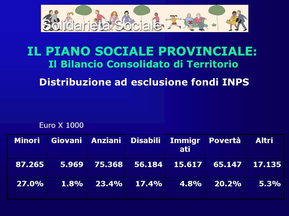 IL PIANO SOCIALE PROVINCIALE : Il Bilancio Consolidato di Territorio MinoriGiovaniAnzianiDisabiliImmigr ati PovertàAltri 87.2655.96975.36856.18415.617