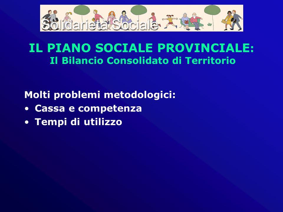 IL PIANO SOCIALE PROVINCIALE : Il Bilancio Consolidato di Territorio Molti problemi metodologici: Cassa e competenza Tempi di utilizzo