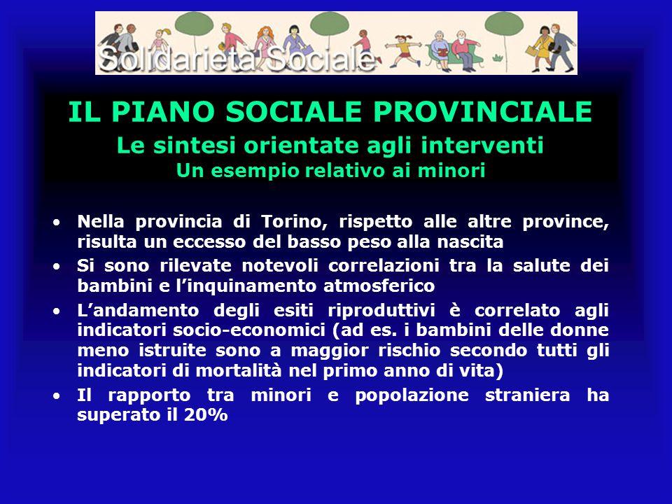IL PIANO SOCIALE PROVINCIALE Le sintesi orientate agli interventi Un esempio relativo ai minori Nella provincia di Torino, rispetto alle altre provinc