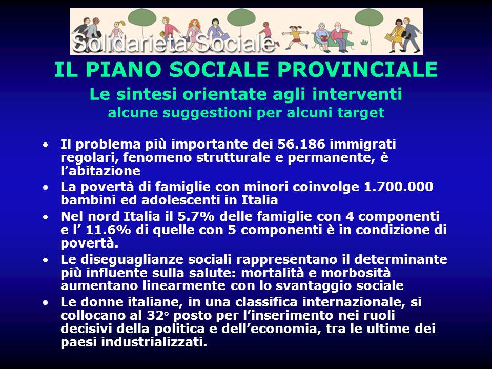 IL PIANO SOCIALE PROVINCIALE Le sintesi orientate agli interventi alcune suggestioni per alcuni target Il problema più importante dei 56.186 immigrati