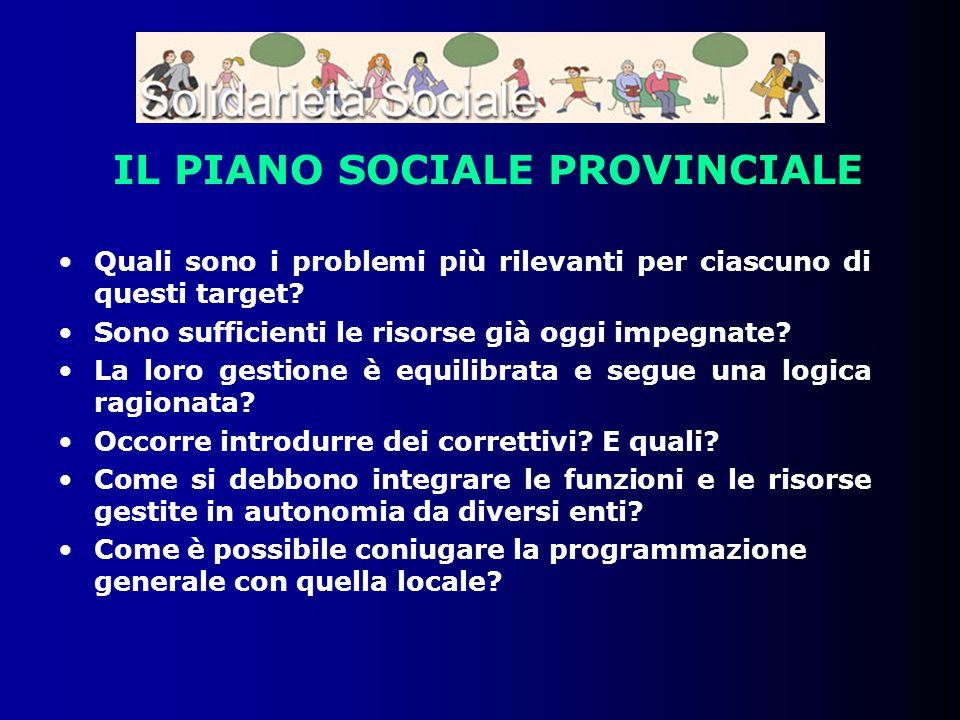 IL PIANO SOCIALE PROVINCIALE Quali sono i problemi più rilevanti per ciascuno di questi target? Sono sufficienti le risorse già oggi impegnate? La lor